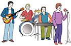Eine Band spielt